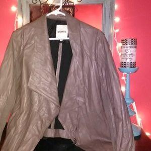 Taupe zip up jacket.
